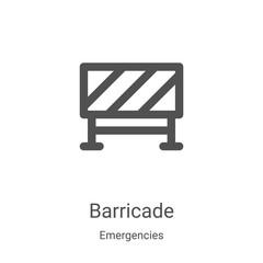 barricade icon vector from emergencies collection. Thin line barricade outline icon vector illustration. Linear symbol for use on web and mobile apps, logo, print media