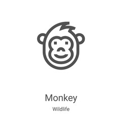 monkey icon vector from wildlife collection. Thin line monkey outline icon vector illustration. Linear symbol for use on web and mobile apps, logo, print media