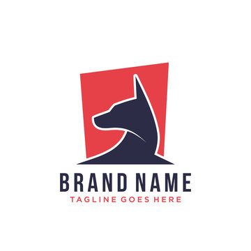 abstract dog logo design vector template illustration. german Shepherd head silhouette concept