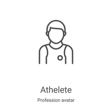 athelete icon vector from profession avatar collection. Thin line athelete outline icon vector illustration. Linear symbol for use on web and mobile apps, logo, print media