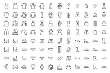 Clothes icons set. Dress, skirt, shirt, outerwear, pants, lingerie, bra, shoes, accessories.
