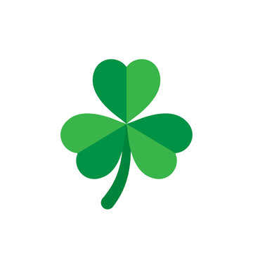 Three leaf clover icon in flat style. St Patricks Day vector illustration on white isolated background. Flower shape business concept.