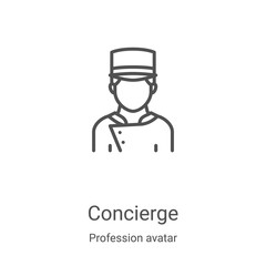 concierge icon vector from profession avatar collection. Thin line concierge outline icon vector illustration. Linear symbol for use on web and mobile apps, logo, print media