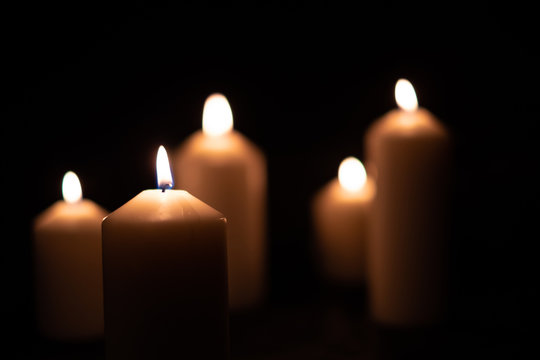 The light from the candle flame
