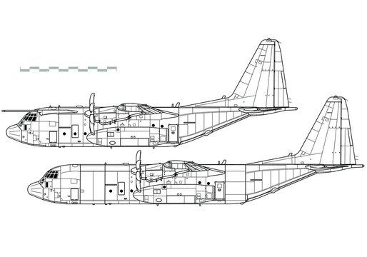 Lockheed C-130J Super Hercules. Outline vector drawing