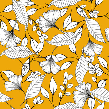 Botanical vector illustration of painted small floral template and outline drawing elements. Rustic vintage leaves and  hand sketched flowers seamless pattern on yellow background.