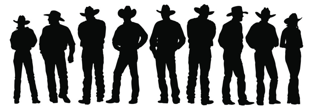 Vector silhouettes of cowboys and cowgirls standing.