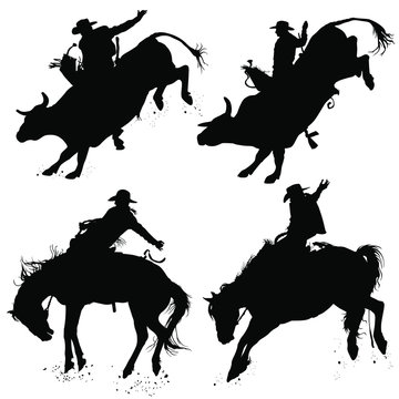 Vector silhouettes of a cowboy riding a bucking bull and horse.