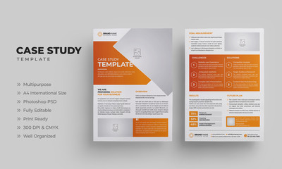 Business Case Study Template with Orange Color | Case Study Layout