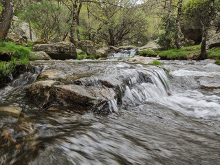 In de dag Bos rivier The Aguilón or Navahondilla stream on the way to the Purgatorio waterfall in the Sierra de Guadarrama. Lozoya Valley Madrid's community.