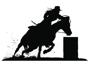 A vector silhouette of a rodeo cowgirl barrel racing.