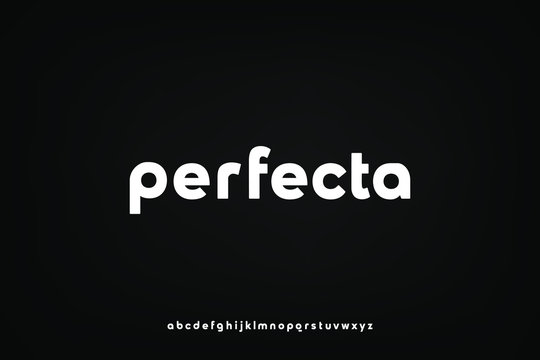 perfecta, a modern sans serif alphabet display font. lowercase minimalist typography design