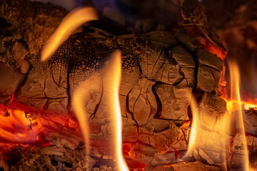 Close up shot of burning firewood in the fireplace at Christmas time