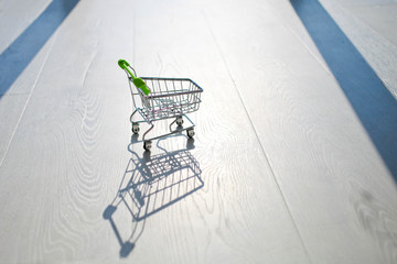 Empty shopping trolley  with  reflection