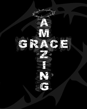 Amazing Grace - text on cross shape. Christianity quote for t-shirt design. Typography biblical poster, vector background