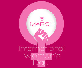 Symbol of feminism on a pink background with the inscription international women's day