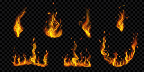 Set of translucent burning campfires and fire flames with sparks on transparent background. For used on dark illustrations. Transparency only in vector format Wall mural