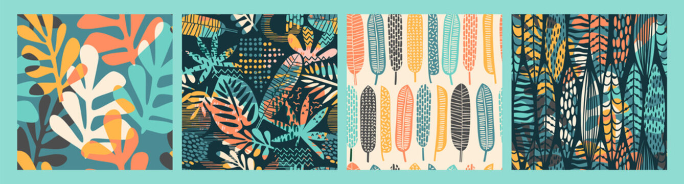 Abstract seamless patterns with tropical leaves and geometric shapes.