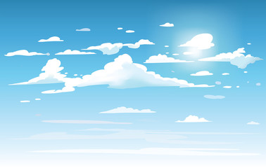 Spoed Fotobehang Blauw Vector blue sky clouds. Anime clean style. Background design