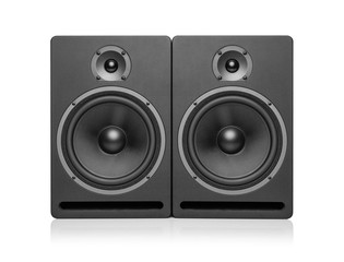 Black speaker isolated on a white background.