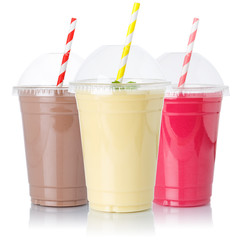 Chocolate vanilla strawberry milk shake milkshake collection straw in a cup isolated on white