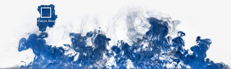 the color trend of the year 2020 classic blue, water paint motion and movement background
