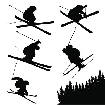 Vector silhouettes of extreme snow skiing.