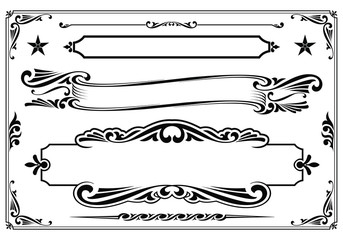Vector black & white western themed banner design elements.