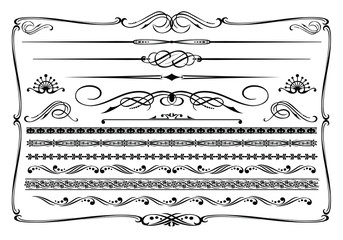 Vector (black & white) western themed design elements.