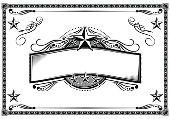 Vector black & white western themed banner and sign design elements. Wall mural