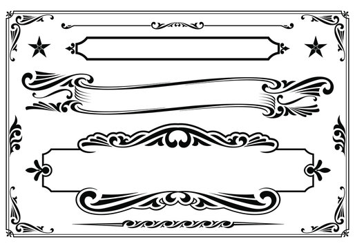 Vector black & white western themed banner design elements.