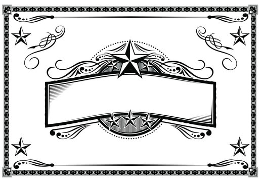 Vector black & white western themed banner and sign design elements.