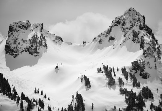 Backcountry skiiers near Mount Rainier