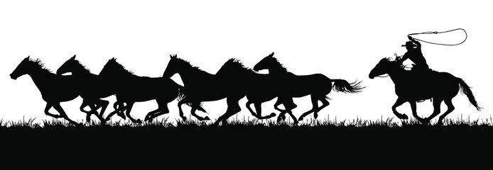 A vector silhouette of a cowboy chasing a herd of running horses.