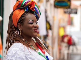 Salvador da Bahia, Brazil, Brazilian Woman of African Descent Dressed in Traditional Baiana Costumes