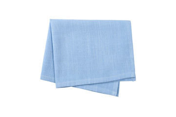 Blue napkin isolated on white background.
