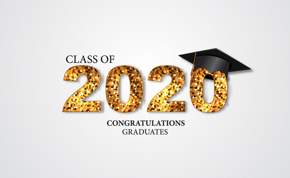 graduation party illustration for class of 2020 congratulation graduate with golden text and caps