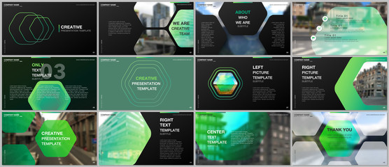 Minimal presentations design, portfolio vector templates with hexagonal design green color pattern background. Multipurpose template for presentation slide, flyer leaflet, brochure cover, report.