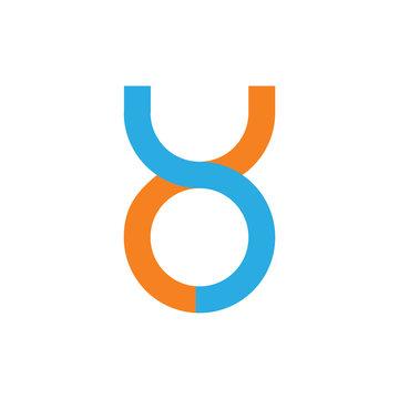linked loop letter yo simple logo vector
