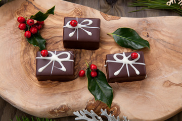 Christmas Chocolate Candy and Red Berries