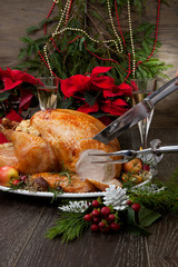Carving Roasted Christmas Turkey with Grab Apples