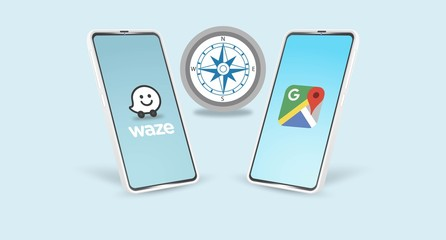 Android phone with popular navigation application icons and compas: Waze, Google Maps