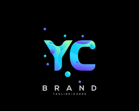 Initial letter YC logo with colorful, letter combination logo design for creative industry, web, business and company. - Vector