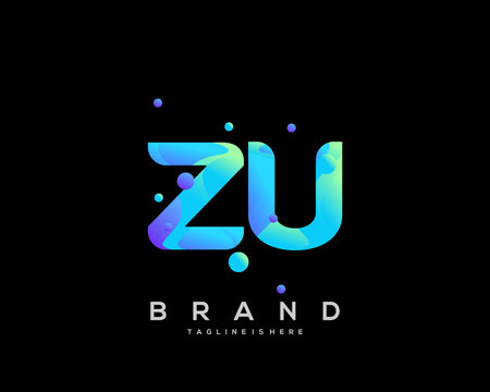 Initial letter ZU logo with colorful, letter combination logo design for creative industry, web, business and company. - Vector
