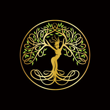 The Goddes Tree Logo, Nature Logo