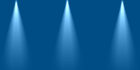 Empty scene blue wall with three spotlights. Stock image of abstract spot lighton blue blank background, glowing color bright beams on stage. Beautiful for design card, advert anniversary, product