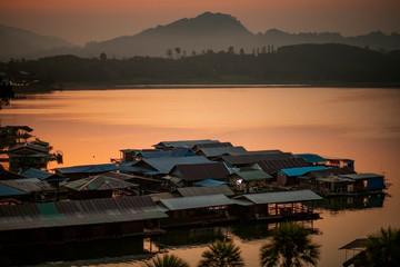 floating home in sangklaburi lake western terri of kanchanaburi one of most popular traveling destination in thailand