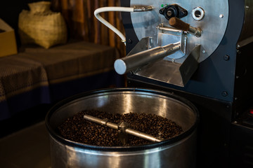 Coffee beans in automatic grinder