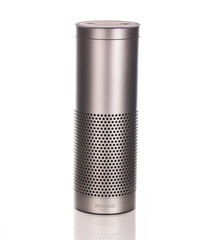 Amazon Echo Plus in Silver on a white background