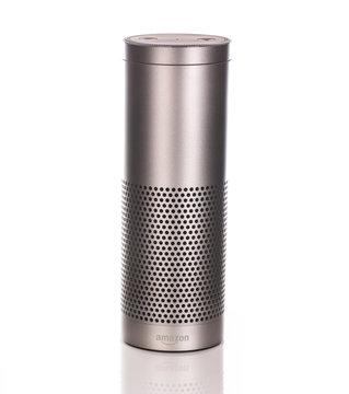 Amazon Echo Plus in Silver on a white background